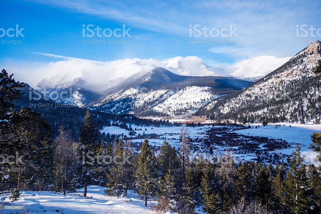 Rocky Mountains in Winter stock photo