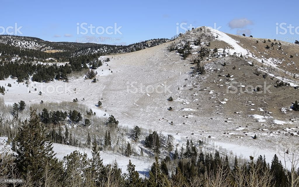Rocky Mountains with dust of snow royalty-free stock photo