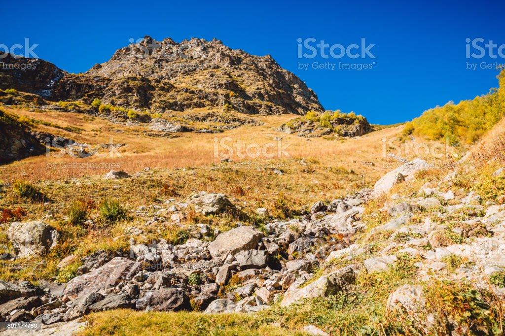 Rocky Mountains with stones. Autumn in mountains stock photo