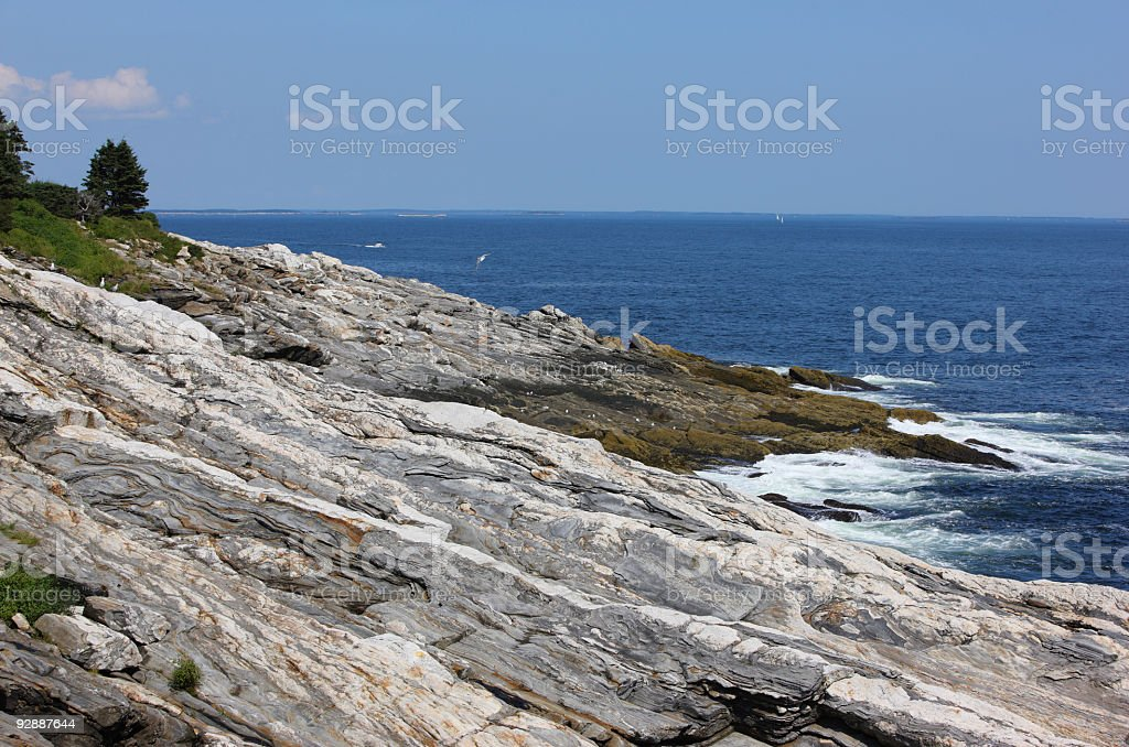Rocky New England coastline (Bristol, Maine, USA) stock photo