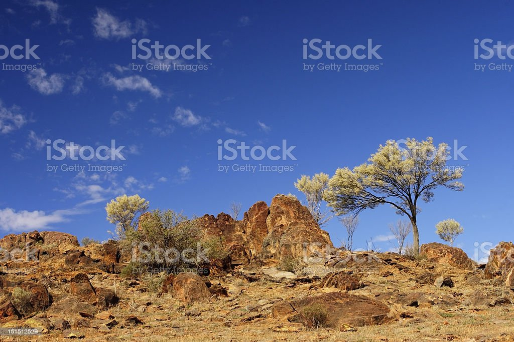 Rocky outback landscape stock photo