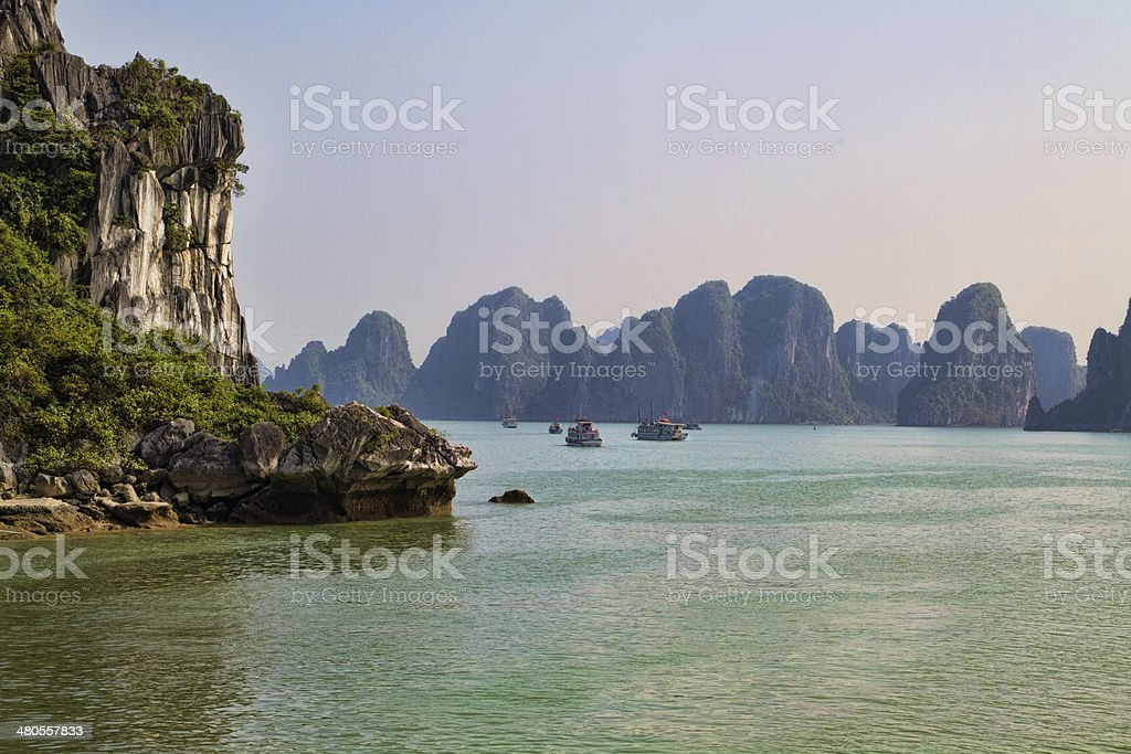 Rocky Outcrop in Halong Bay stock photo