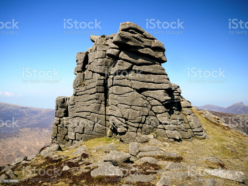 Rocky Outcrop On the Mourne Mountains stock photo