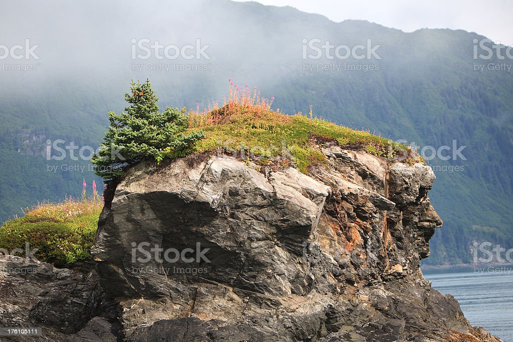 rocky outcropping near the sea royalty-free stock photo