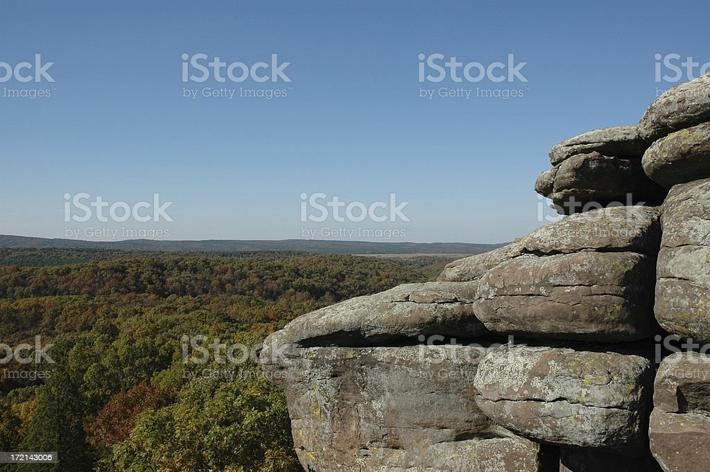Rocky Outcropping Overlooking Changing Leaves royalty-free stock photo