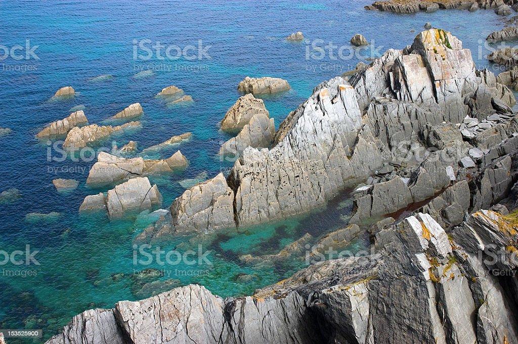 Rocky Outcrops in the Ocean stock photo