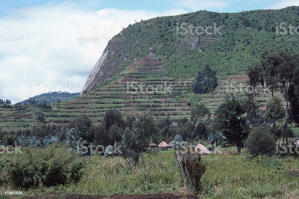 Rocky Outcrops steep Hillsides Gishwati National Park Rubavu Rwanda Africa stock photo