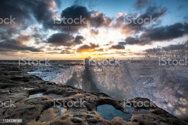 Photo of Rocky Pacific Ocean coastline at dusk with clouds