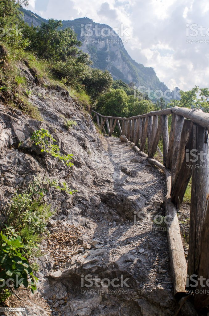 Rocky path in the mountains stock photo