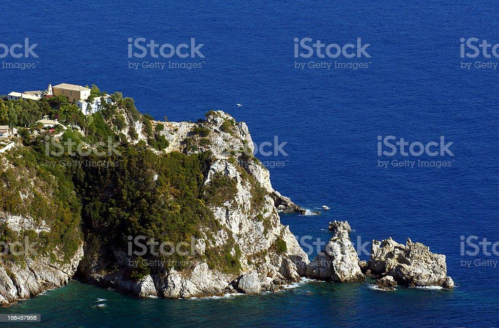 rocky peninsula with monastery at Corfu island royalty-free stock photo
