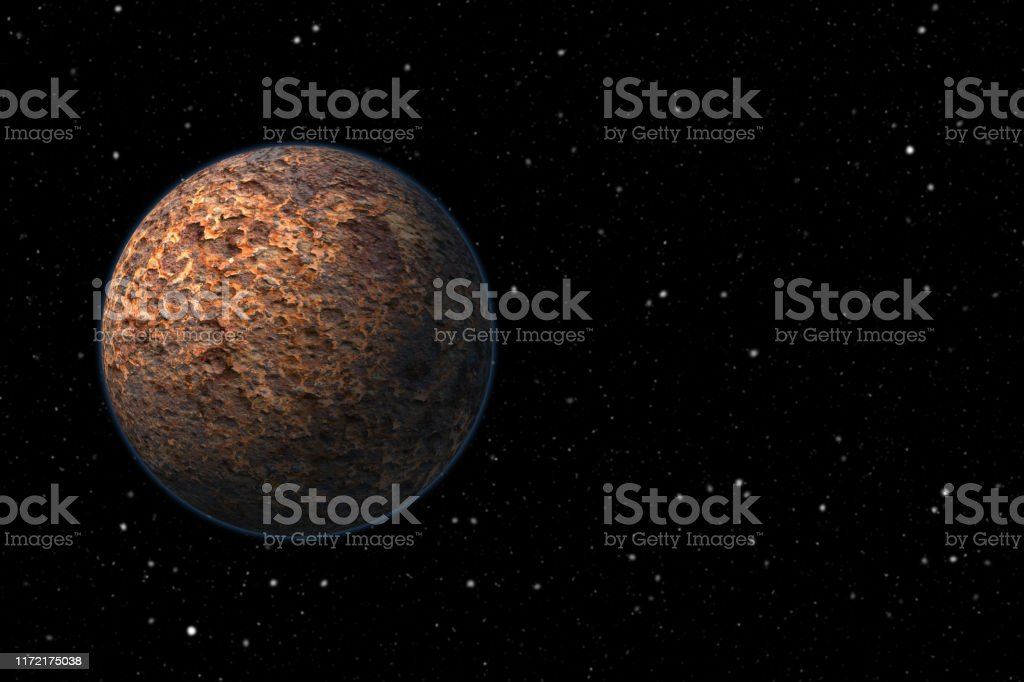 Rocky planet Rocky planet in the space. Astronomy Stock Photo