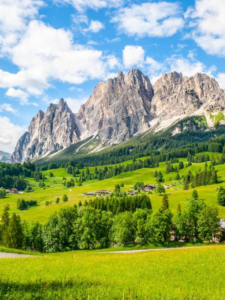 rocky ridge of pomagagnon mountain above cortina d'ampezzo with green meadows and blue sky with white summer clouds, dolomites,, italy - dolomiti foto e immagini stock