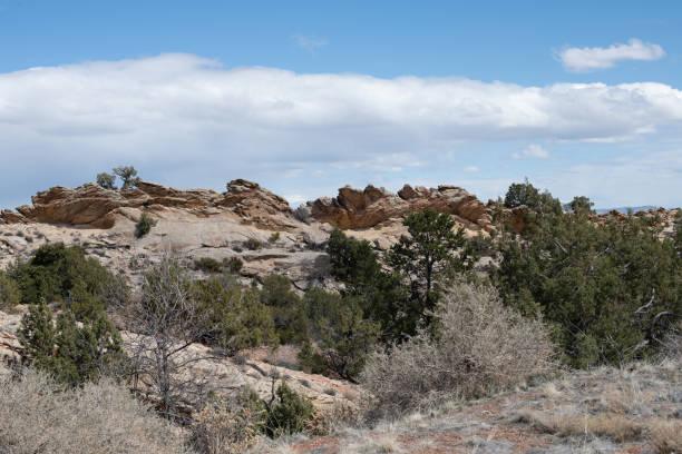 Rocky Ridge under a Spring Sky stock photo
