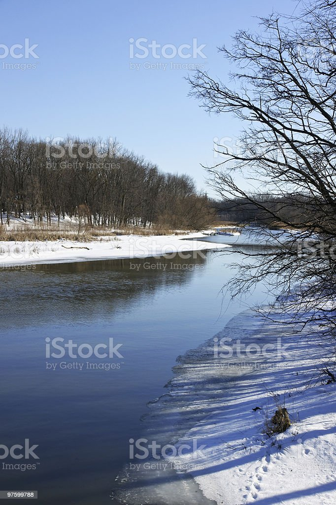 Rocky River In Winter royalty-free stock photo