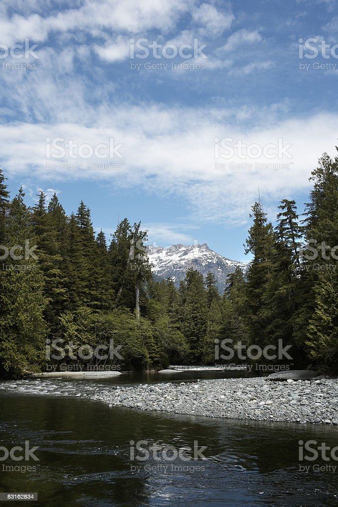 Rocky riverbank with mountain peaks in distance. royalty free stockfoto