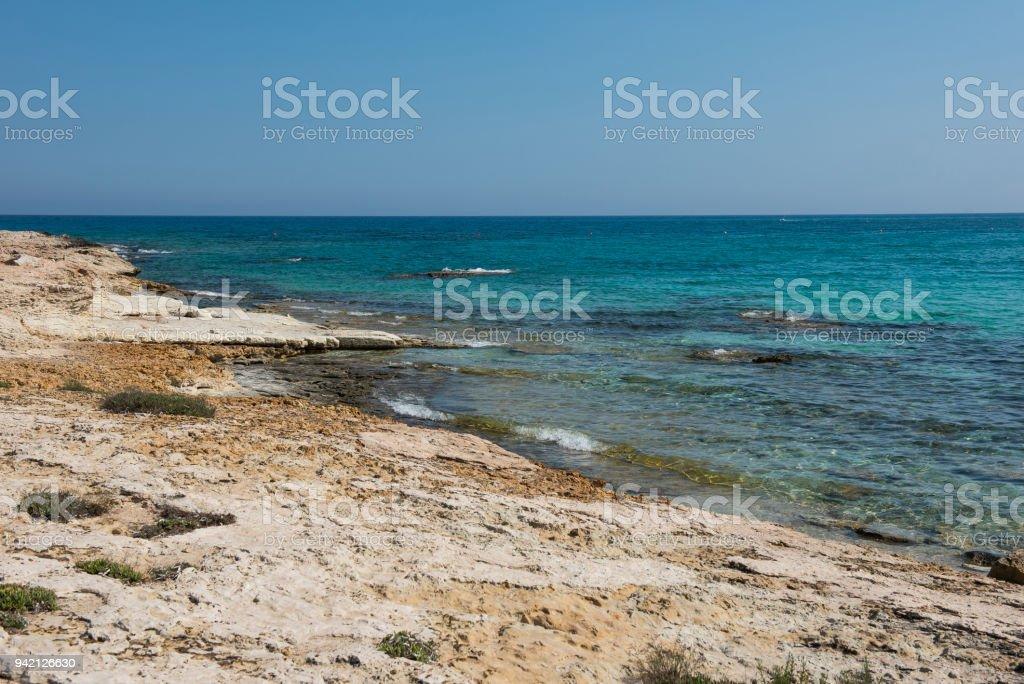 Rocky sea coast in Cyprus stock photo