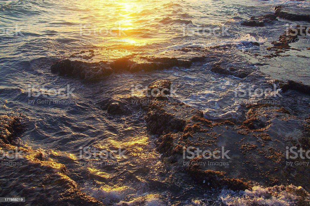 Rocky sea coast on sunset royalty-free stock photo