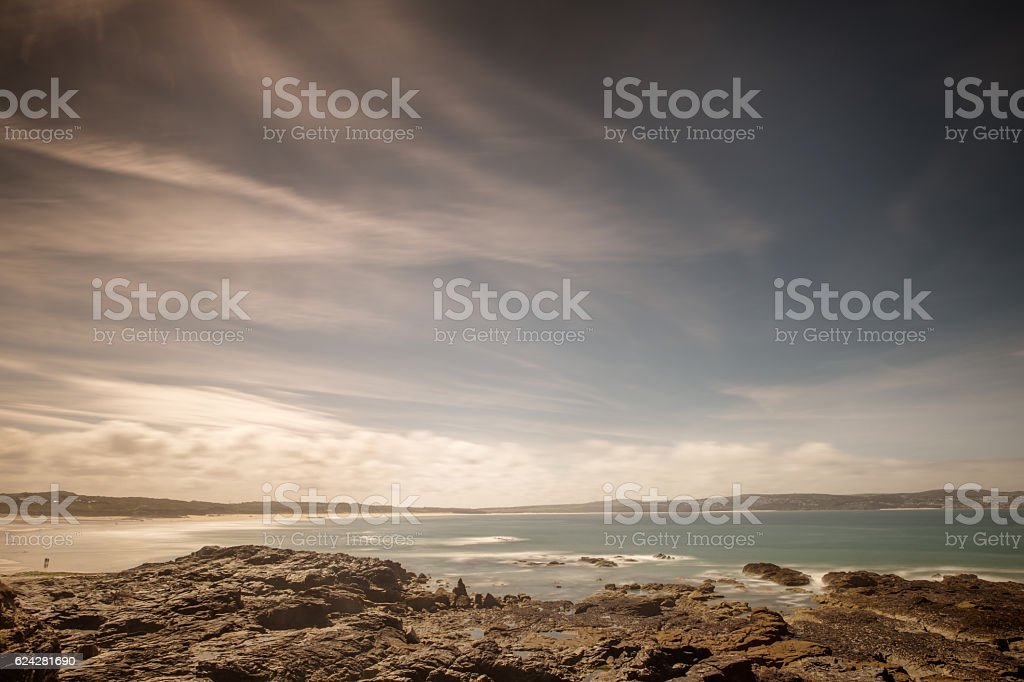 rocky seascape in england stock photo