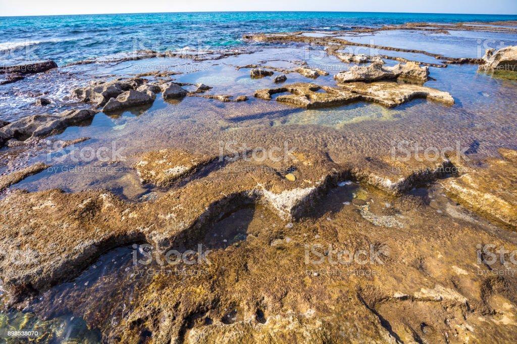 Rocky seashore. Rosh Hanikra Sea Reserve. Israel stock photo