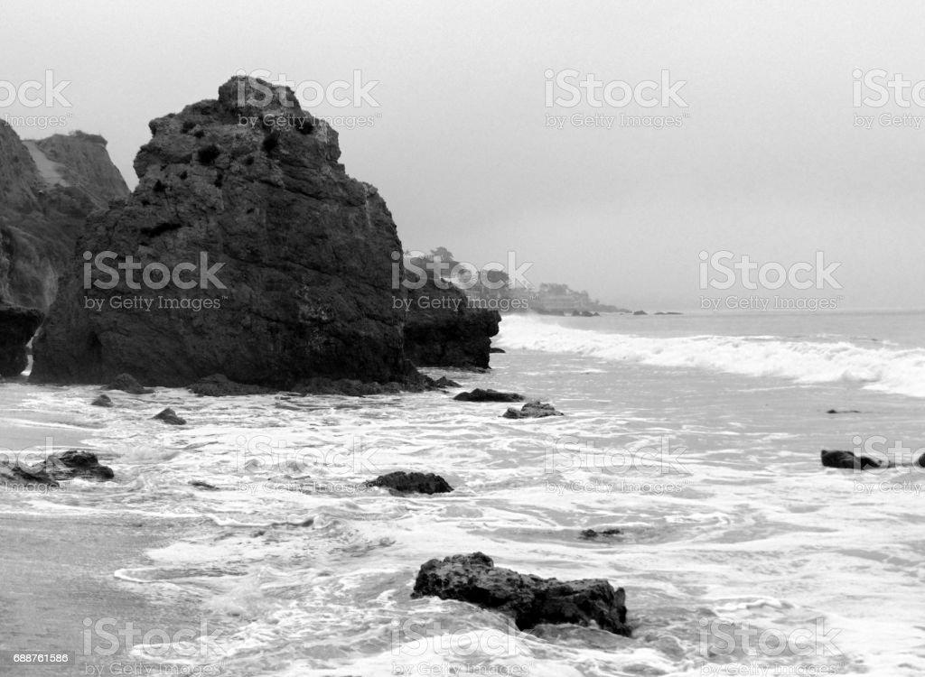 A Rocky Shore at a Malibu Beach stock photo