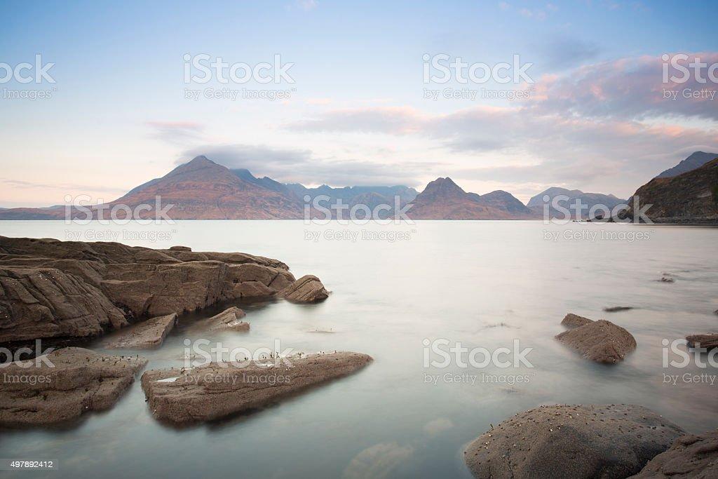 rocky shore in elgol, skye stock photo