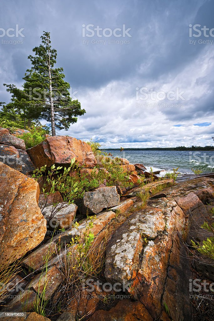 Rocky shore in Georgian Bay royalty-free stock photo