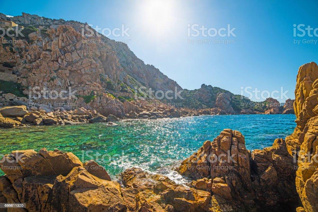 Rocky shore in Sardinia royalty-free stock photo