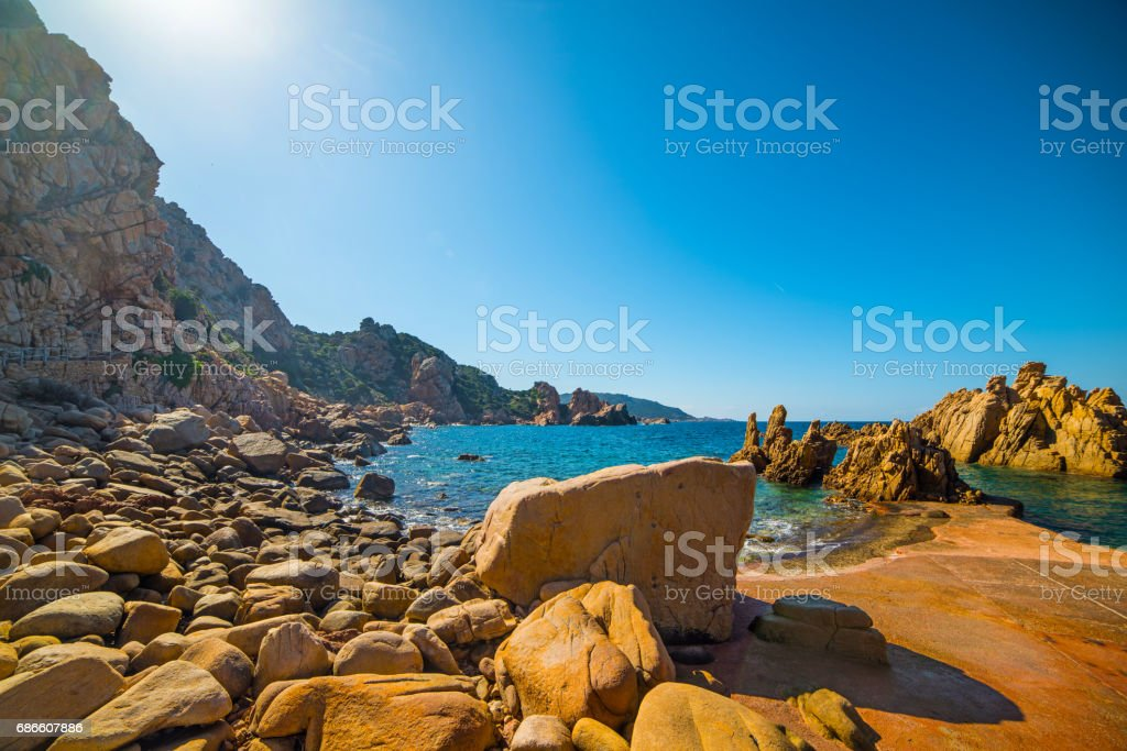 Rocky shore in Springtime royalty-free stock photo