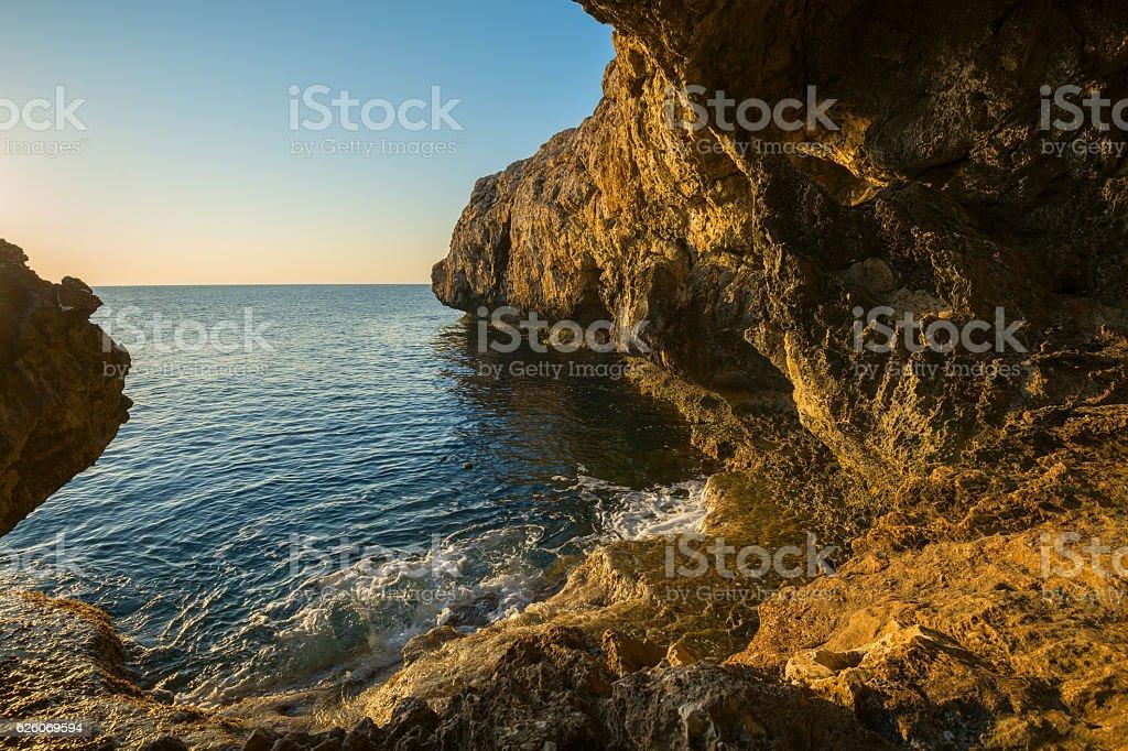 Rocky shore of Mediterranean Sea stock photo