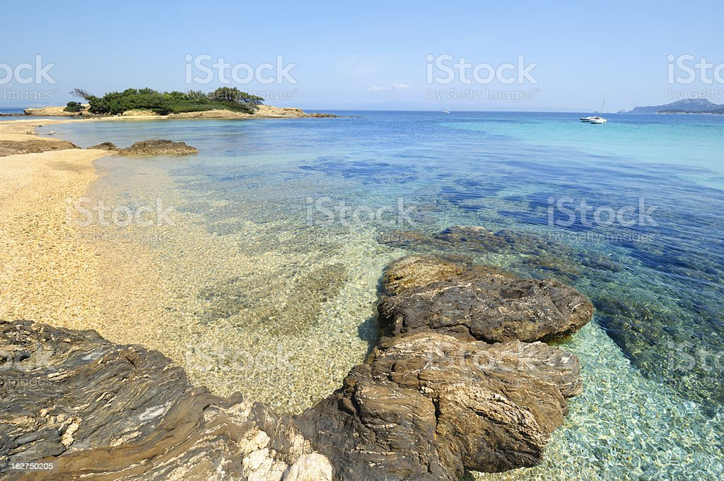 Rocky shore of Porquerolles stock photo