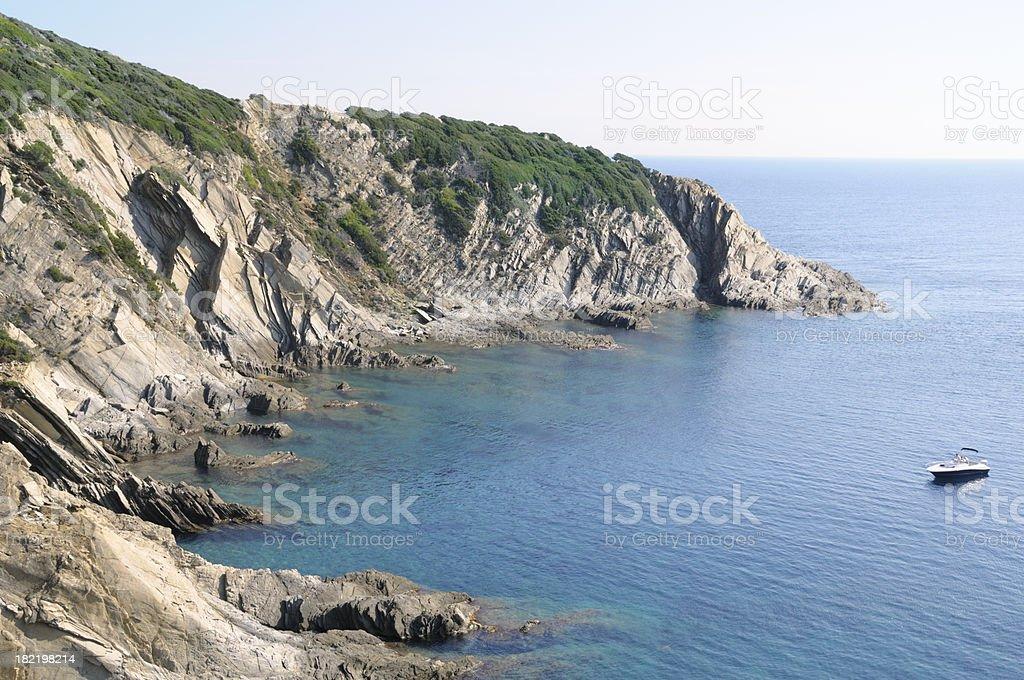 Rocky shore of Port-Cros royalty-free stock photo