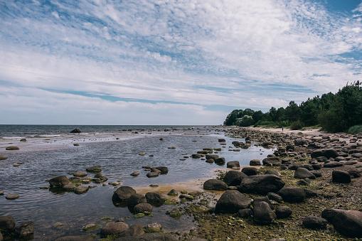 Rocky shore of the Baltic Sea in Kaltene Latvia