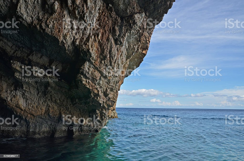 Rocky shore of the Zakynthos island stock photo