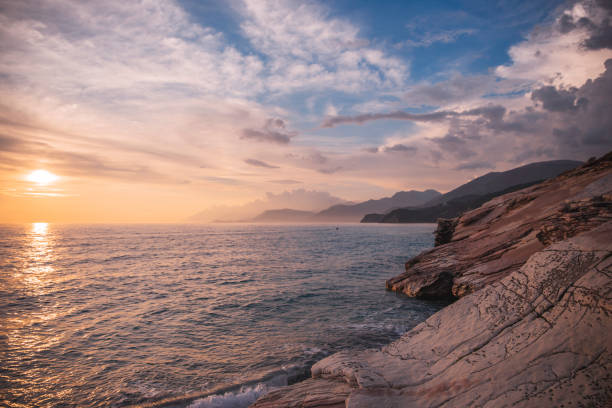 Rocky Shore On Mediterranean Sea With Beautiful Sunset