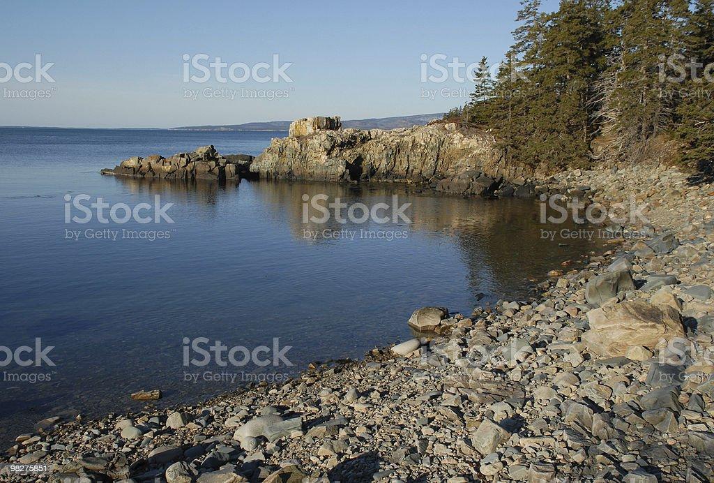 Rocky shoreline along Schoodic Point cove royalty-free stock photo