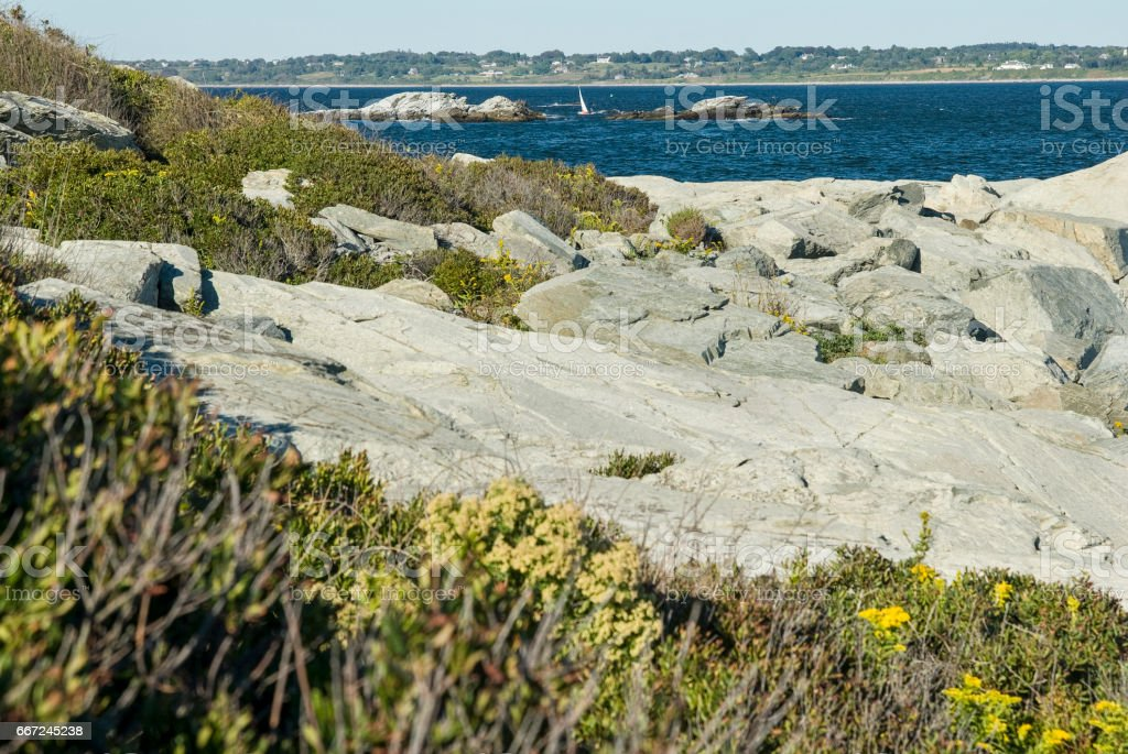 Rocky shoreline at Sachuest Point stock photo