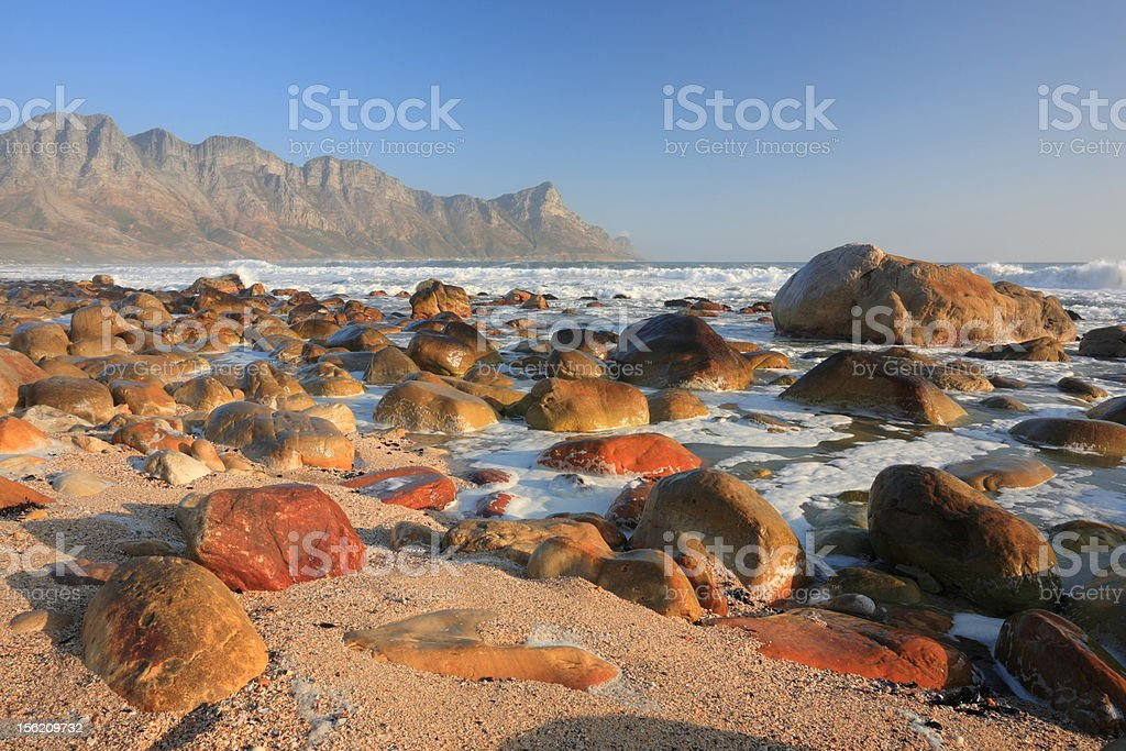 Rocky shoreline near Cape Town, South Africa royalty-free stock photo