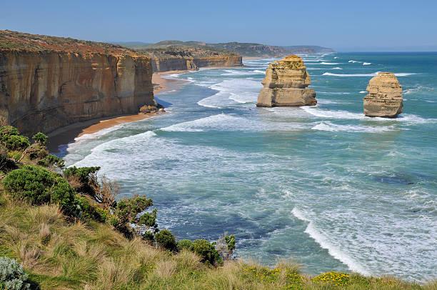 Rocky shoreline on the Great Ocean Road, Australia stock photo