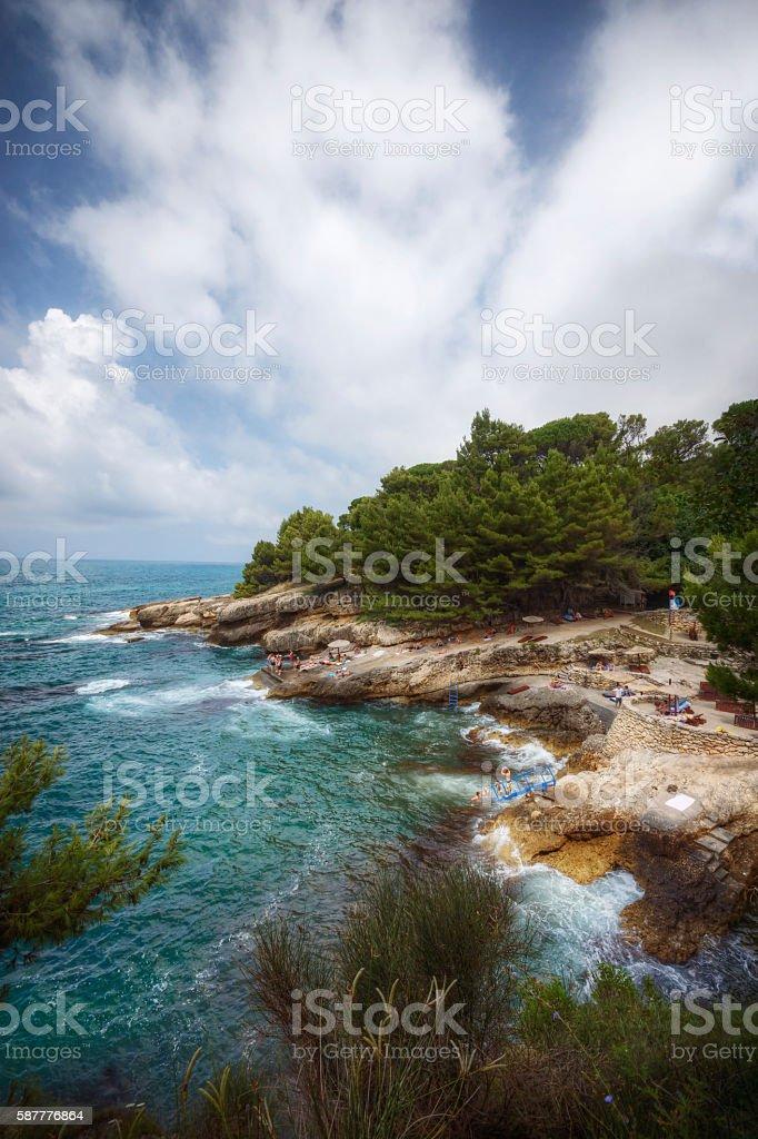 Rocky Shores of Adriatic Sea in Ulcinj Montenegro stock photo