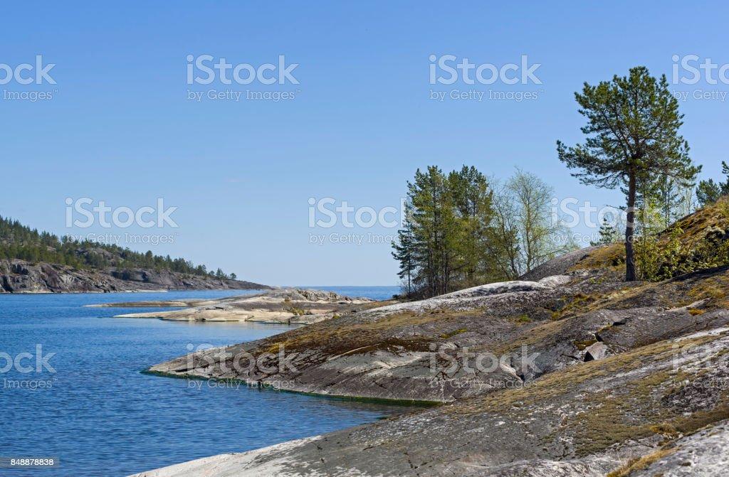 Rocky shores of Lake Ladoga stock photo