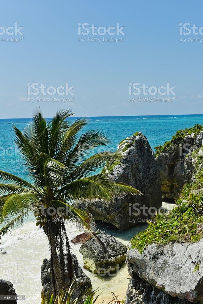 Rocky Tulum beach ストックフォト