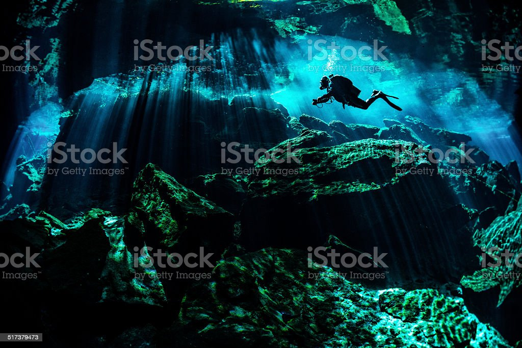Rocky underwater places stock photo
