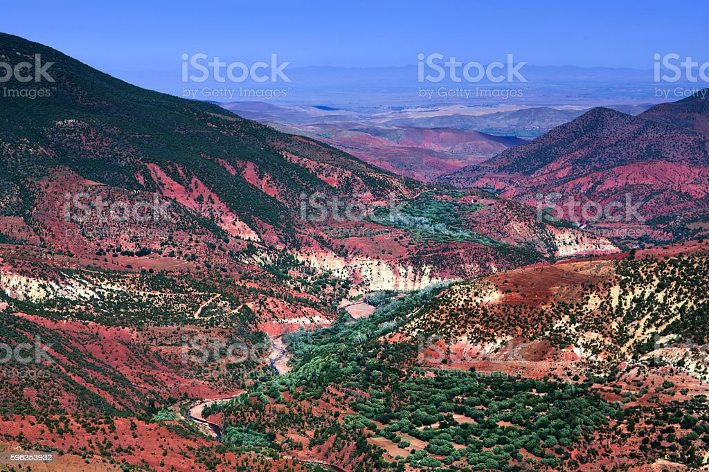 Rocky valley on the road from Marrakesh to Ouarzazate, Morocco. royalty-free stock photo