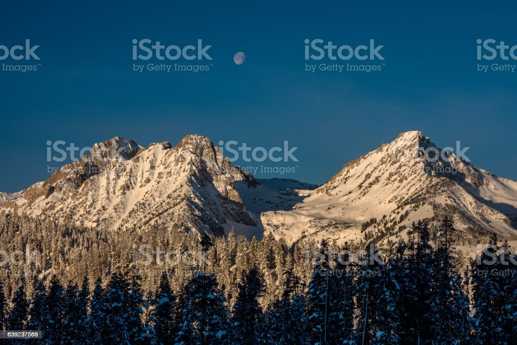 Rocky winter mountains with moon and forest stock photo