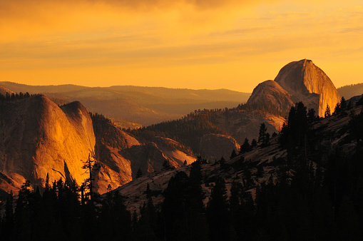 Sunset on Half Dome from Olmsted Point, Yosemite National Park, California, USA