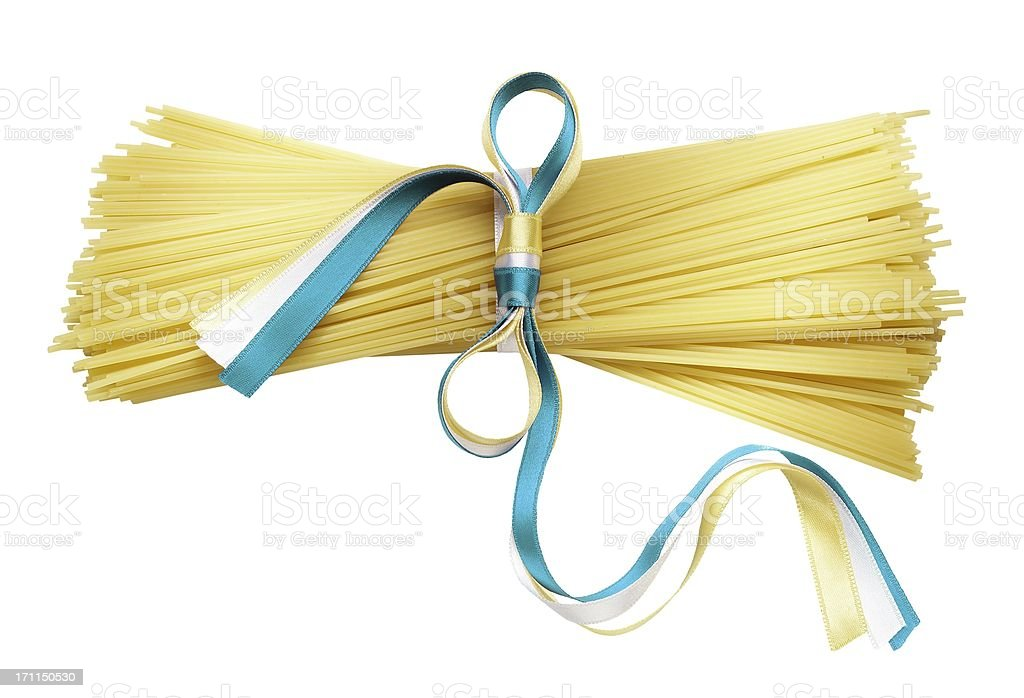 Rod connected with ribbon pasta stock photo