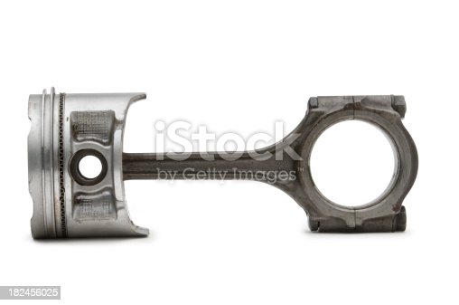 A used engine Rod & Piston isolated on white.  Clipping Path on object.