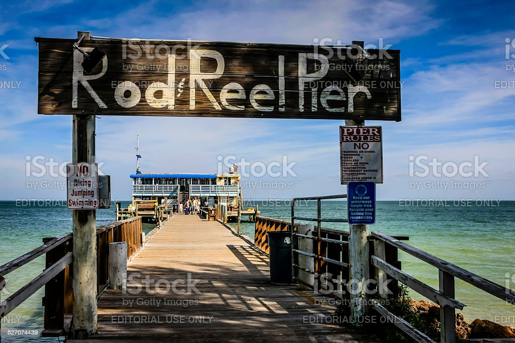 Rod & Reel wooden Pier on Anna Maria Island in Florida stock photo