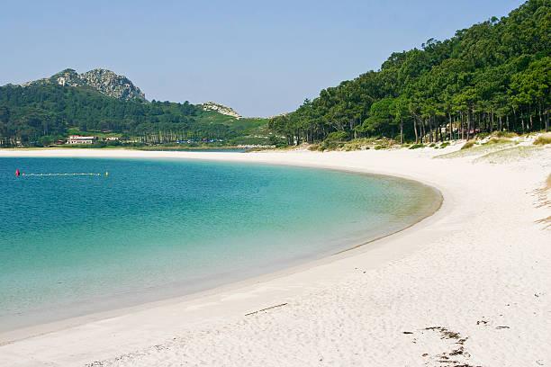 Rodas beach on Cies islands stock photo