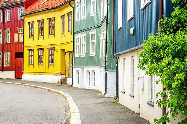 Rodelokka in Oslo, the wooden village of Norway Rodelokka in Oslo, the Wooden Village in the City, known for its old wooden house architecture, Scandinavia oslo stock pictures, royalty-free photos & images